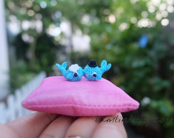 tiny crochet turquoise couple of whale - art dollhouse miniature - amigurumi animal 0.8 inch long