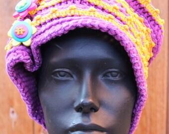 Mega Bright Orange & Purple Slouchy Huge Hat with Three Adjustable Button Pins...