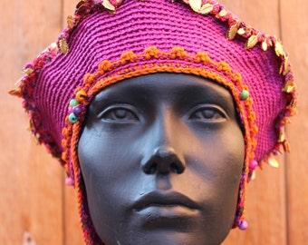Pink Mega Crochet Hat With Spikes & Metal Leaf Findings...