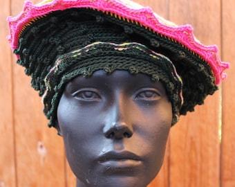 Deep Green & Orangy Pinks Large Crochet Crochet Hat...