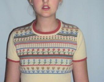 70s striped sweater cropped,  Fair Isle XS, S