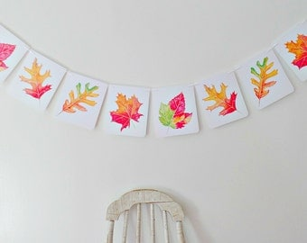 Fall Leaves Banner, Fall wedding decor, Thanksgiving Banner, Autumn decor mantle, Fall party decor, Photo props, Harvest party, Fall garland