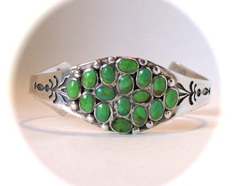 Mojave Green Turquoise Sterling Silver Cuff Indian Bracelet