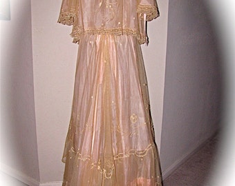 ANTIQUE 1910s EDWARDIAN Trousseau Pale Pink Silk Lined Champagne LACE Lingerie Set Bed Jacket and Skirt With Train