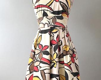 Tiki Dress, Hawaiian Dress, 50s Dress, Vintage Dress, Retro Dress, Mid Century Dress