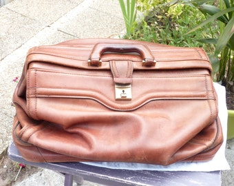 Vintage Leather Bag/Leather Luggage - Doctor's Style Leather Bag -  Leather GLADSTONE - Anique Leather Hand Bag - Old leather suitcase - SPT