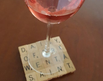 Scrabble Tile  Coasters made with 80 Scrabble Tiles and a full Cork Bottom...Free Shipping, too