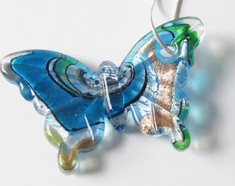 Butterfly Necklace with Glass Butterfly Pendant and Sterling Silver Chain Summer Jewelry