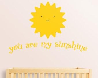 You Are My Sunshine Wall Decal Nursery Decor, Baby Room Wall Art Australian  Made