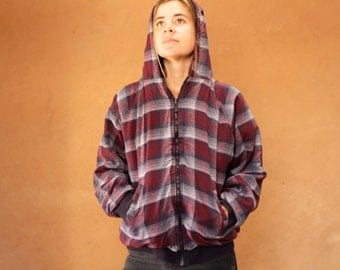 90s nirvana GRUNGE plaid HOODIE button up down shirt crossover