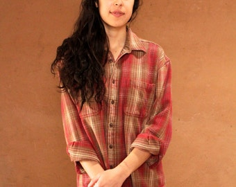 90s grunge color blocked FLANNEL THICK long sleeve shirt