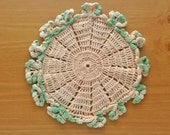 Vintage Peach Colored Doily with Green Ruffle Border, 8 inch Vintage Crochet Doily, Pretty Pastel Doily for Home Decor, Weddings, Crafts