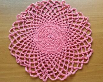 Coral Pink Vintage Crochet Coaster Doily, 8 inch Table Trivet, Vase Doily