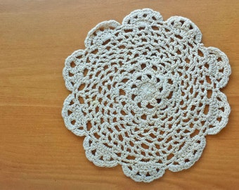 Beautiful Ivory Color Doily, 7 inch Doily