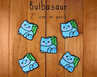 "Bulbasaur iron-on patch 2"" pokemon embroidered embroidery iron on patch"