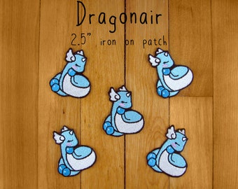 "Dragonair iron-on patch 2.5"" pokemon embroidered embroidery iron on patch"