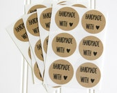 30 Handmade With Love Kraft Round Circle Label Stickers (1.5 inches) - Labels, Packaging, Gift Wrap, etc.