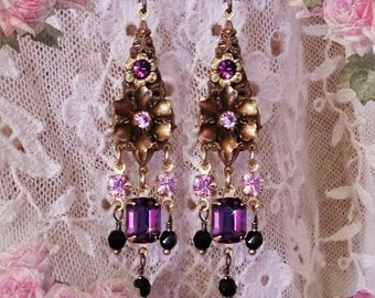 Small Purple Vintage Victorian Chandelier Earrings, Swarovski Amethyst Crystal, Antique Floral, Delicate, Lightweight!, Clip-On Option