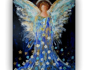 Angel Blessings - Original Large Painting on Stretched Canvas - Christmas