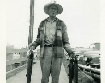"Vintage Photo ""Grandpa Mike and His Morning Catch"" Snapshot Old Antique Photo Black & White Photograph Found Paper Ephemera Vernacular - 66"