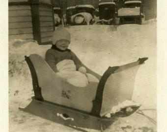 "Vintage Photo ""Christmas Sled Ride"" Winter Snow Children Snapshot Old Photo Black & White Photograph Found Paper Ephemera Vernacular - 176"