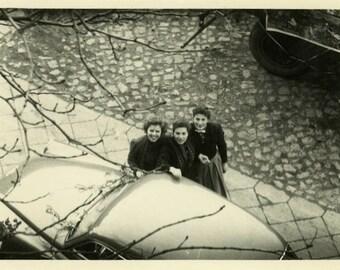 "Vintage Photo ""Hello from Above"" Aerial Shot Three Girls Snapshot Old Photo Black & White Photograph Found Paper Ephemera Vernacular - 199"