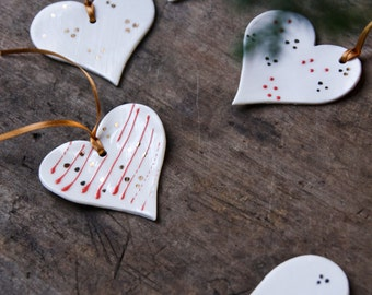 Love heart ornaments, Valentines day gift, token gift , valentines, white red gold, porcelain heart, hanging ornament, wedding favour