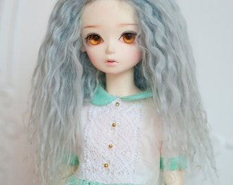 1/4 Size Short Light Blue Tibetan Mohair Wavy Wig (Size: 19cm)  for Volks BJD MSD Dolls