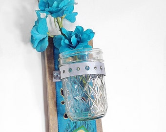 Wood Wall Sconce, Hanging vase, Shabby Chic,  Country Cottage Decor, Hanging Flower Vase,Reclaimed Rustic Wedding Peacock Decor