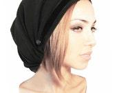 Black Tichel, Head Scarf, Hair Snood, Fancy Occassions, Chemo Hat, Chemo Cap, Chemo Turban, Pre Tied  Bandana: Black Velvet. . . 006