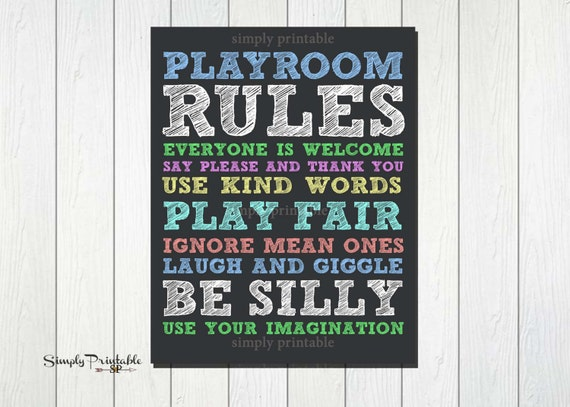Rainbow Color Playroom Rules Print (Printable 11x14 Print) Digital Instant Dowload