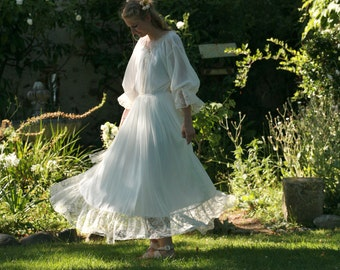 Warm white chiffon/silk, viscose bridal gown, boho wedding dress - made by your measurments, bishop sleeves