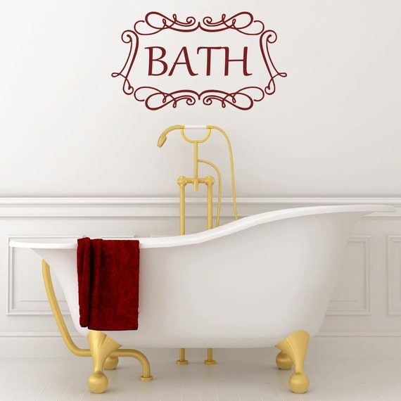 Bathroom Lettering Decor : Bath wall decal bathroom vinyl lettering words