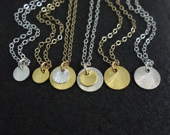 Coin Brushed Disc Necklace in /Sterling Silver or Gold Plate on Silver/ Everyday Layering Necklace Delicate Two Tone Matte