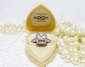Antique Heart Presentation Ring Box Art Deco Cream Color Fiancee' Keepsake