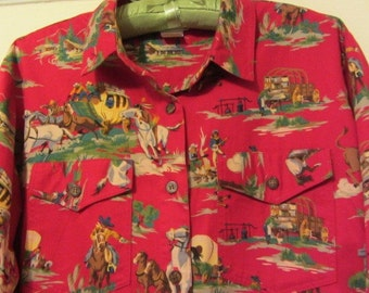 Vintage Western shirt, Cowgirl Shirt, vintage cowgirl, flannel shirt, wagon and horses,Texas cowgirl, rodeo shirt, linedance shirt,   size 8