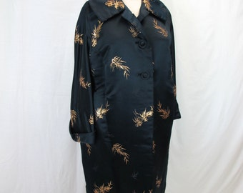 1960s Black and Gold Silk Evening Coat
