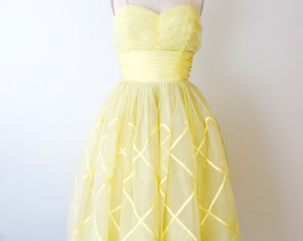 1950s Yellow Party Prom Dress