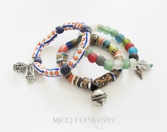 African Beaded Silver Charm Stretch Bracelets / Ethnic / Festival / Gypsy / Tribal / Boho / Chunky / Free Shipping U.S.!