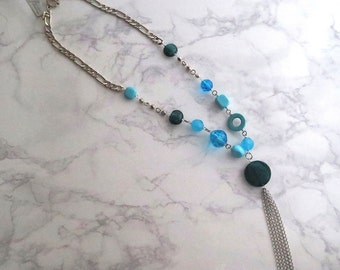 Wedel - One Silver Tassel Statement Beaded Necklace in Turquoise Blue or Green Gemstone, Resin, Glass (Collier Vert Turquoise) by InfinEight