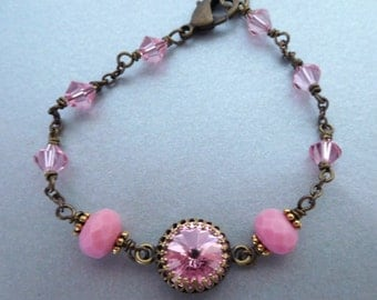 Pink crystal brass bracelet, antiqued brass bezel set rhinestone, wire wrapped beads, Light Rose Austrian crystal, pink crystal jewelry