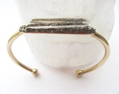 Clear Crystal Quartz Bracelet - Pyrite Minerals - Boho Chic- Wedding - Gift For Her