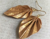 Origami Leaf Earrings // Textured Gold