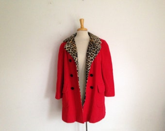 1960s red wool coat with  leopard print collar by climate fashions, size large