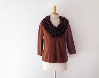 1960s  Gino paoli wool top with yarn collar accent size large