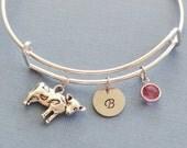 Cow Bracelet, Cow Bangle, Initial Bangle,Silver Bangle,Personalized,Expandable,Charm Bracelet,Birthstone Bracelet,BFF Friend,Birthday