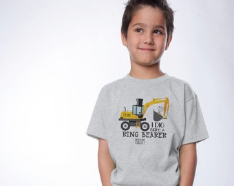 Ring Bearer Gift - Mr. Bulldozer Shirt - Personalized Bridal Party Gifts - I Dig Being a Ring Bearer - Handcrafted Wedding -Flower Girl Gift