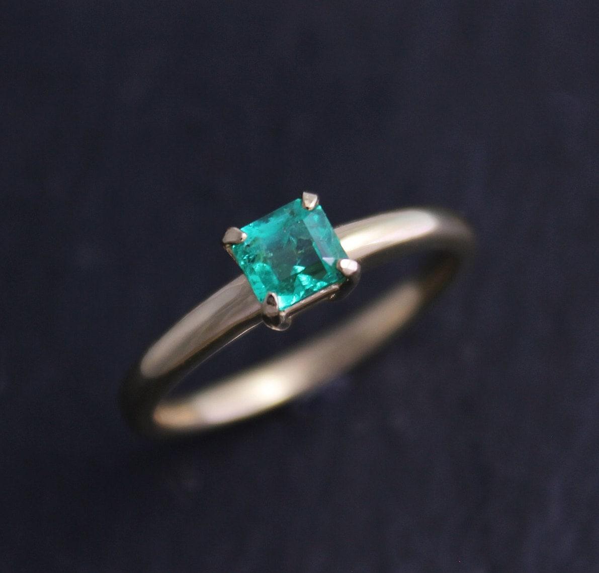 asscher cut emerald ring 18k yellow gold alternative