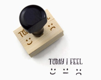"Rubber Stamp ""Today I Feel"" - Mood Tracker For Your Planner - Emoji Smile Sad Neutral"
