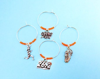 Marathon Wine Charms: Runner Wine Charms. Gift for a Runner in your life. Includes 26.2, Runner, Sneaker, and I Love to Run. Set of 4.
